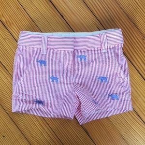 J. Crew Red Seersucker Elephant Shorts 2T
